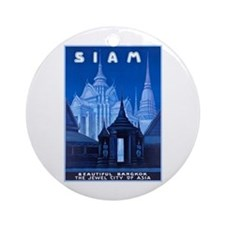 Siam Travel Poster 1 Ornament (Round)