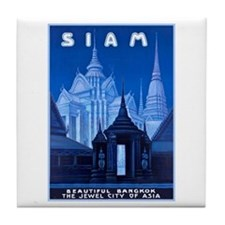 Siam Travel Poster 1 Tile Coaster