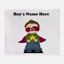 Personalized Super Hero Boy Throw Blanket
