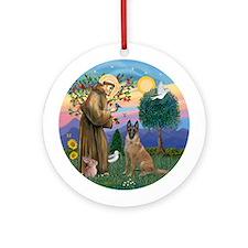 St Francis - Belgian Malinois Ornament (Round)