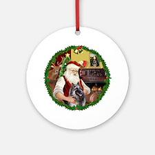 Santa Wreath - Belgian Tervuren2 -Ornament (Round)
