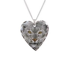 Snow Leopard Necklace Heart Charm