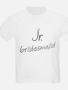 Pink Floral Jr. Bridesmaid Kids T-Shirt