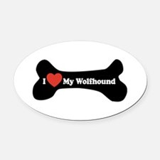 I Love My Wolfhound - Dog Bone Oval Car Magnet