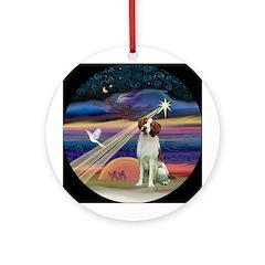 Xmas Angel - Brittany Spaniel Ornament (Round)