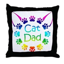 """Cat Dad"" Throw Pillow"