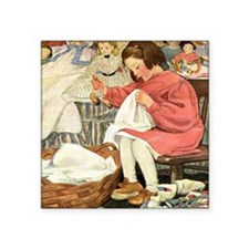 """Little Girl Sewing Square Sticker 3"""" x 3"""""""