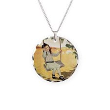 Girl on a Swing Necklace Circle Charm