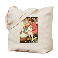 Little Girl Sewing Tote Bag