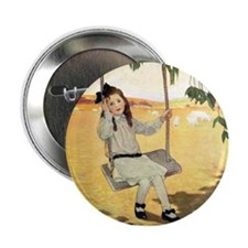 """Girl on a Swing 2.25"""" Button"""
