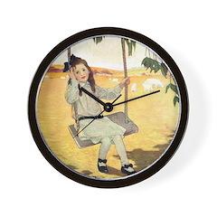 Girl on a Swing Wall Clock