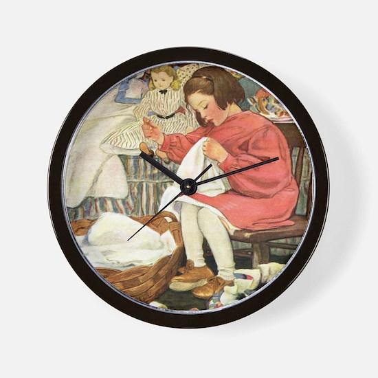 Little Girl Sewing Wall Clock