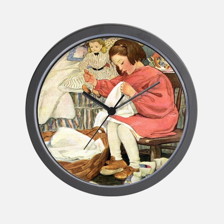 Little Girl Sewing Wall Clock