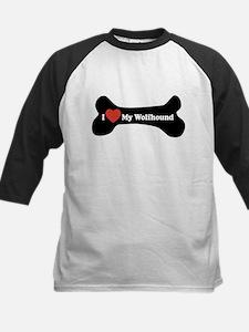 I Love My Wolfhound - Dog Bone Kids Baseball Jerse