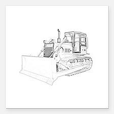 """Bulldozer in bw Square Car Magnet 3"""" x 3"""""""