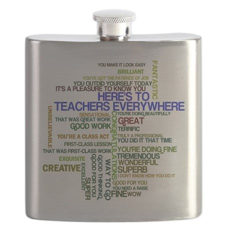 Great Teachers Word Art Flask