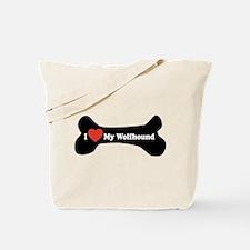 I Love My Wolfhound - Dog Bone Tote Bag
