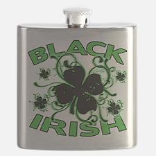 Black Shamrocks Black Irish Flask