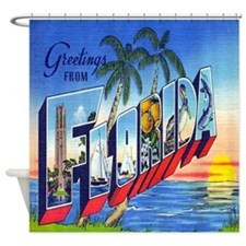 Vintage Florida Greetings Postcard Shower Curtain