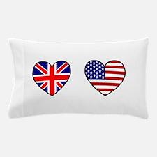 USA / UK Flag Hearts Pillow Case