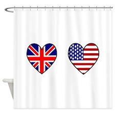 USA / UK Flag Hearts Shower Curtain