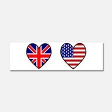 USA / UK Flag Hearts Car Magnet 10 x 3