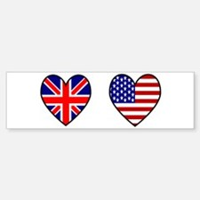 USA / UK Flag Hearts Bumper Bumper Sticker