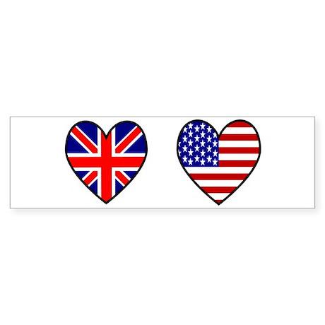 USA / UK Flag Hearts Sticker (Bumper)