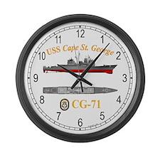 USS Cape St. George CG-71 Large Wall Clock