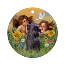 Cherubs - Brindle Cairn Terrier Ornament (Round)