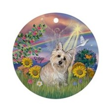 Cloud Angel-Wheaten Cairn Terrier Ornament (Round)