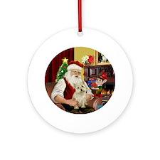 Santa's Cairn Terrier (Wtn) Ornament (Round)