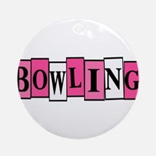 Pink and White Bowling Ornament (Round)