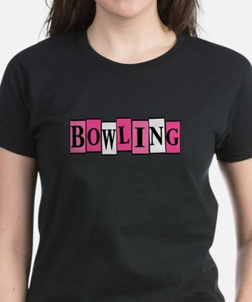 Pink and White Bowling Women's Dark T-Shirt