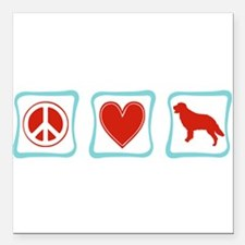 PeaceLoveGoldenRetrieverSquares.png Square Car Mag