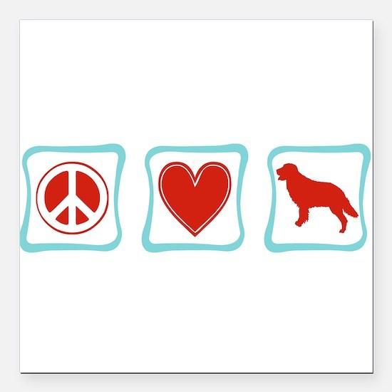 PeaceLoveGoldenRetrieverSquares.png Square Car Mag