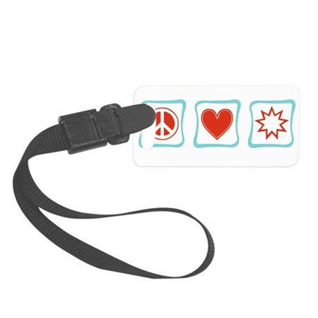 PeaceLoveBahaiSquares.png Small Luggage Tag