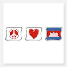 """PeaceLoveCambodiaSquares.png Square Car Magnet 3"""""""