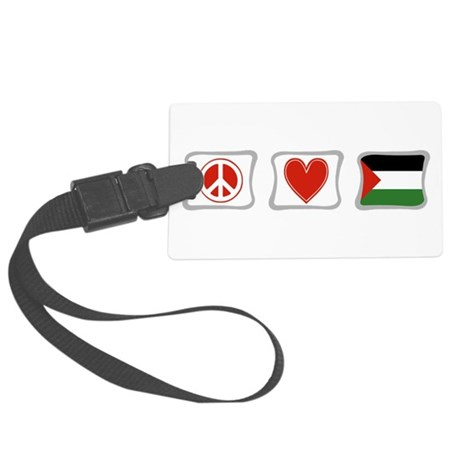 PeaceLovePalestineSquares.png Large Luggage Tag