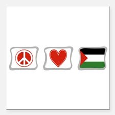 """PeaceLovePalestineSquares.png Square Car Magnet 3"""""""