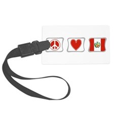 PeaceLovePeruSquares.png Luggage Tag