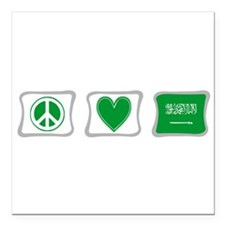 Peace Love Saudi Arabia Squares Square Car Magnet