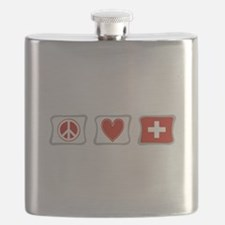 Peace Love Switzerland Squares Flask