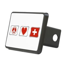Peace Love Switzerland Squares Hitch Cover