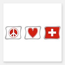 Peace Love Switzerland Squares Square Car Magnet 3