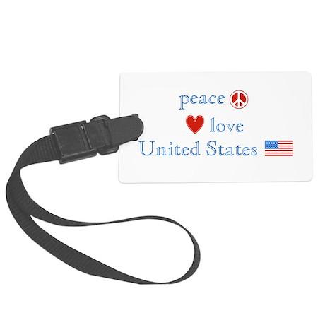 Peace Love United States Large Luggage Tag