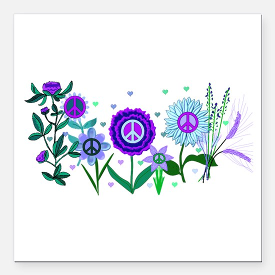 "Growing Peace Square Car Magnet 3"" x 3"""