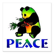 "peacepanda01a.png Square Car Magnet 3"" x 3"""