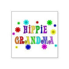 "hippie_grandma01.png Square Sticker 3"" x 3"""