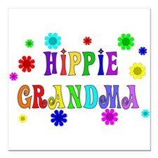 "hippie_grandma01.png Square Car Magnet 3"" x 3"""